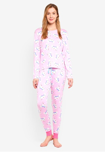 Chelsea Peers pink Pink Magic Unicorn All Over Print Long PJ Set C27F7AAC42CB26GS_1