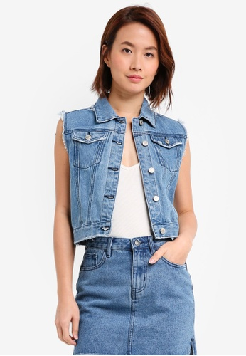 ZALORA blue Cropped Vest BE938AA876A554GS_1
