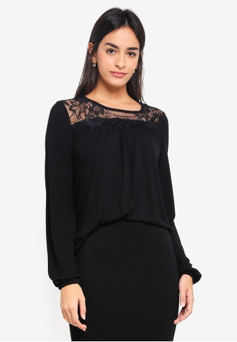 Vero Moda black Viona Long Sleeve Top D94EDAA7AA1D39GS_1