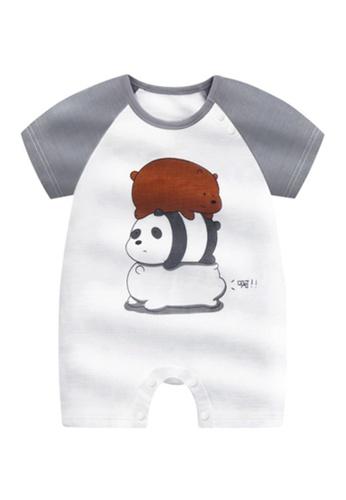 Kiddies Crew grey and white and multi We Bare Bears Grizzly Pan Pan Panda Ice Bear Boys Girls Baby Kids Short Sleeve Romper Onesie Overalls Bodysuit 9E13EKAD621D20GS_1