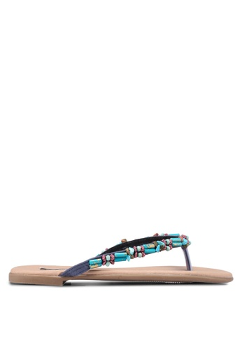 Nose blue Bohemia Beaded Flat Sandals 88833SH147B2C1GS_1