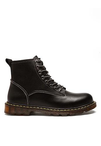 Twenty Eight Shoes 黑色 時尚皮革中筒靴 VMB89027 D8F3ESH1A4CC8DGS_1