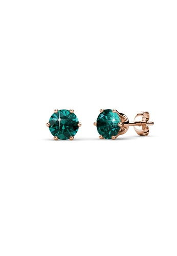 Her Jewellery green and gold Birth Stone Earrings (May, Rose Gold) - Made with premium grade crystals from Austria FAAE0AC46920B9GS_1