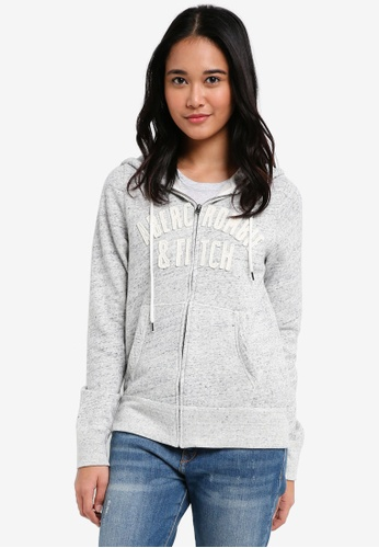 Abercrombie & Fitch grey Long Life Logo Hoodie 4A450AAADC7759GS_1