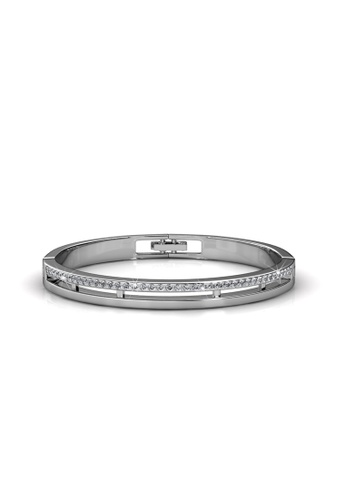 Her Jewellery silver Swarovski® Crystals - Elegant Bangle (White Gold) (18K White Gold Plated) Her Jewellery HE581AC0RDR0MY_1