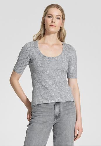 Nobody Denim grey Luxe Rib Scoop Tee 0121DAA5C9829AGS_1
