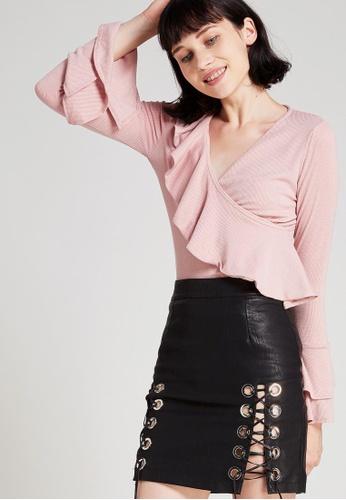 Storets pink Katharine Diagonal Ruffle Top ST450AA0G6IOSG_1