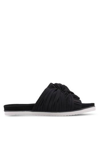 Vero Moda 黑色 時尚褶飾拖鞋 719FFSHF04945AGS_1
