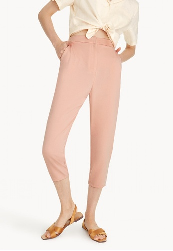 Pomelo pink Crop High Waist Fitted Pants - Pink 6F277AA0D65B8CGS_1