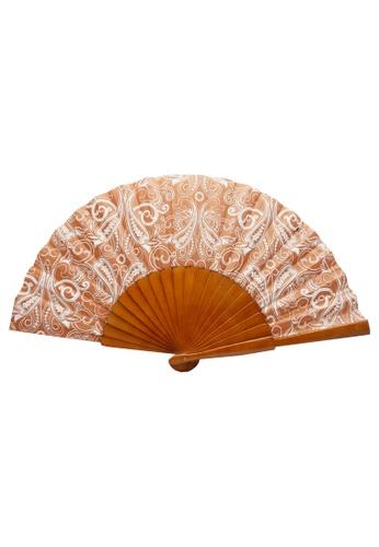 Stylesource brown New Summer Vintage Wooden Fan 30cm Printed C753EACEF8690AGS_1