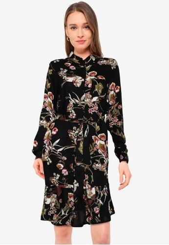 Pieces black Brenna Long Sleeve Dress 270BBAA04837A0GS_1
