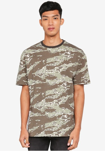 5f8e3d46 Buy Topman Khaki Camouflage Oversized T-Shirt Online on ZALORA Singapore