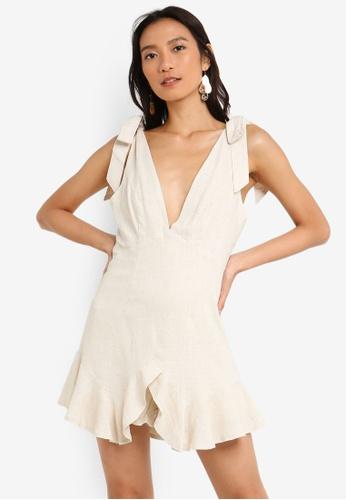 INDIKAH beige Shoulder Tie Ruffle Hem Skort Style Playsuit 6EA3CAA379DC4DGS_1