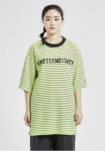 NINETEENEIGHTY black and yellow Over Fit Crew Neck Stripe Logo T-shirt NI195AA09XCGSG_1