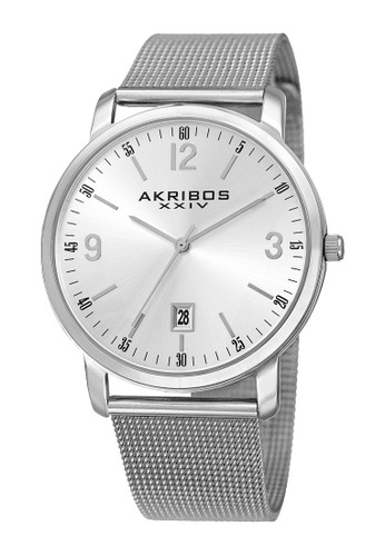 Akribos XXIV silver Akribos XXIV Omni Men's Sunburst Dial Calender AK858SS AK522AC0VT2TID_1