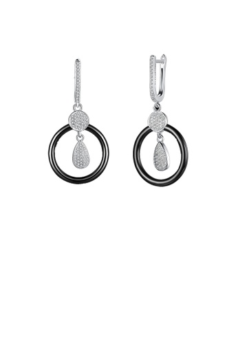 Glamorousky white 925 Sterling Silve Simple Elegant Noble Luxury Round Black Ceramic Earrings with Cubic Zircon AB128ACACB870BGS_1