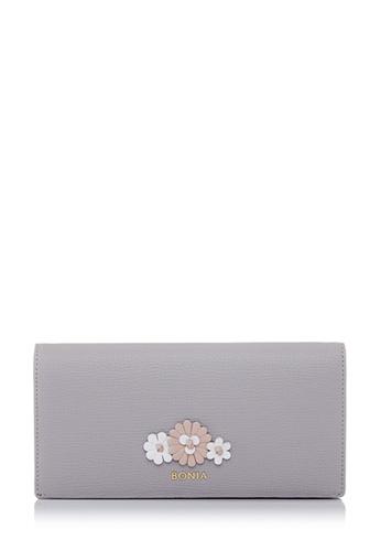 BONIA grey Light Grey Botanica Long Two Fold Wallet 8AED7AC406D9A1GS_1