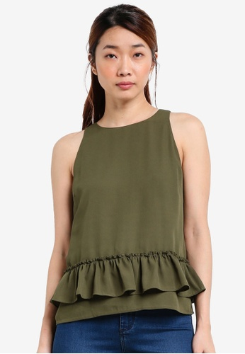 Something Borrowed green Ruffle Detail Cut-in Top D6F90AABEC0295GS_1