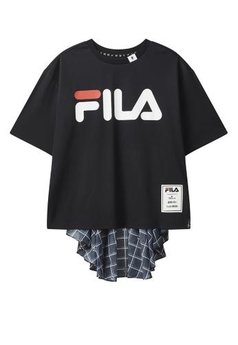 FILA navy FILA × Maison MIHARA YASUHIRO FILA Logo Dropped Shoulders Checked T-shirt 52BD9AA4B90EBEGS_1