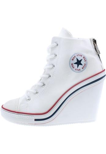 Maxstar 白色 新款韩国鞋777-BZ時尚帆布布混合女白色 US Women Size MA345SH58HCNTW_1
