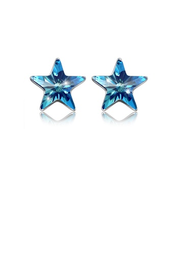 Glamorousky blue 925 Sterling Silver Simple Elegant Fashion Star Ear Studs and Earrings with Blue Austrian Element Crystal 1136FAC944444FGS_1