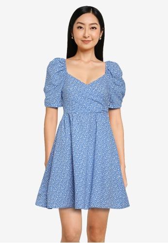 Urban Revivo 藍色 Open 後蕾絲 洋裝 398BDAA0122A16GS_1
