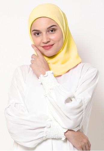 KASHKHA yellow Hijab Square Poly Corner with Kashkha / W19SHCAHJBKGR3064-Yellow 63C2FAA636552BGS_1