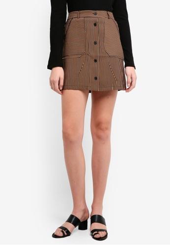 Mango brown Striped Skirt 8DD72AA6BC435FGS_1