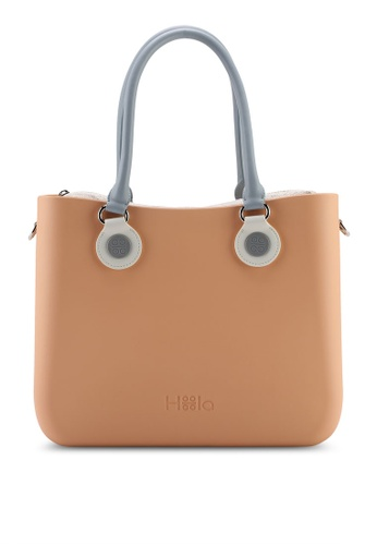 Hoola Hoola orange Alma Tote Classic - Nude Coral with Slate & Snow handles 8D2B8ACD43C222GS_1