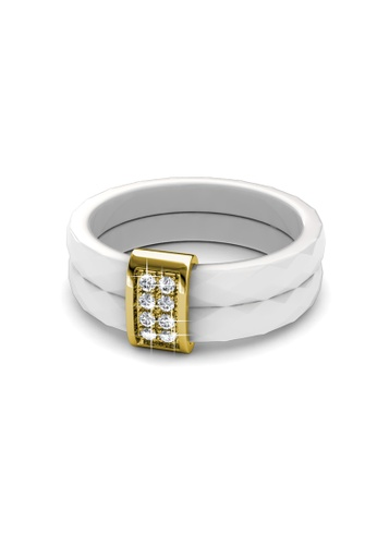 Her Jewellery white Swarovski® Crystals - Dual Ceramic Ring (White) (18K Yellow Gold Plated) Her Jewellery HE581AC0RE5CMY_1