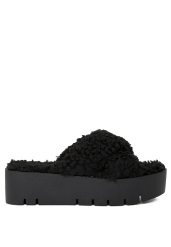 London Rag 黑色 黑色仿羊毛交叉带平底托凉鞋 C705CSH7745950GS_1