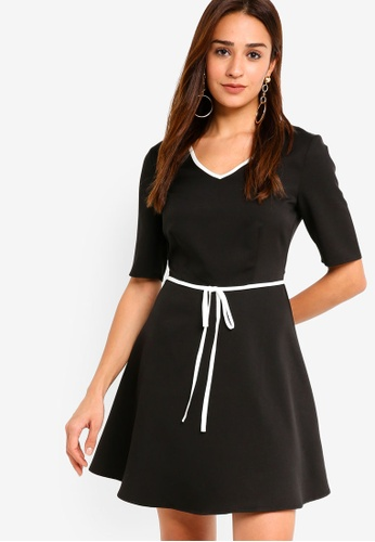 ZALORA black Fit And Flare Dress with Contrast Tie FDE69AA537E270GS_1