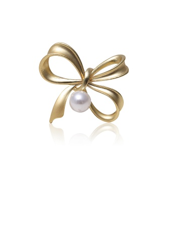Glamorousky white Simple Fashion Plated Gold Ribbon Imitation Pearl Brooch B0424AC0D0D7EDGS_1