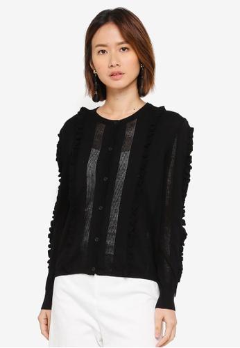 NAIN black Ruffle Knit Cardigan AAB0AAA7639A27GS_1