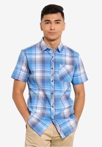 Fidelio blue Checkered Casual Short Sleeve Shirt 4D560AA6C8B47AGS_1
