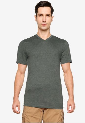 Burton Menswear London green Khaki Marl Short Sleeves V-Neck Tee D2D95AAF2BFCC6GS_1