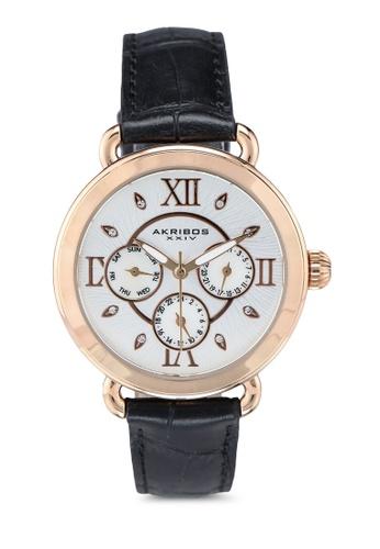Akribos XXIV 黑色 計時功能手錶 24E28ACEBCC51FGS_1