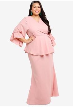 874ad18786f1 Lubna pink Ruffles Sleeves Wrap Kurung Set 5BC90AABC11967GS 1
