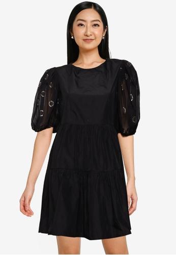 KOTON 黑色 公主袖洋裝 D799DAAE6A0A2DGS_1