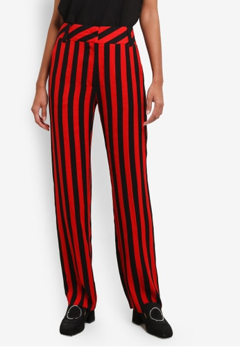 TOPSHOP red Humbug Striped Trousers TO412AA0ROW1MY_1