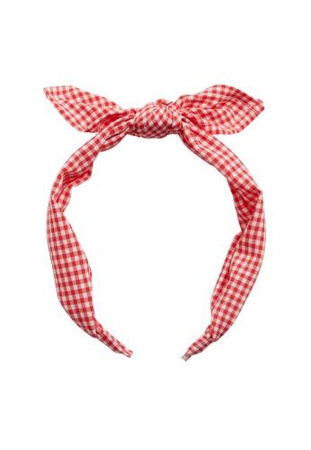 MANGO KIDS red Bow Checked Headband D9F69KCB3B020DGS_1