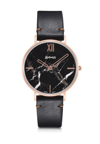 Axis black and white and pink AXIS -  Real Marble Face,Genuine Leather Quartz Watch FC81BAC27540F3GS_1