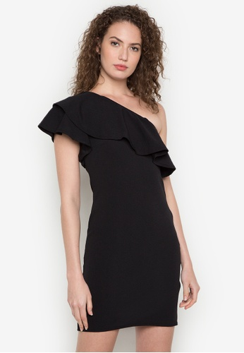 Ashley Collection black Ainsley One Shoulder Ruffle Dress AS637AA0JPPYPH_1