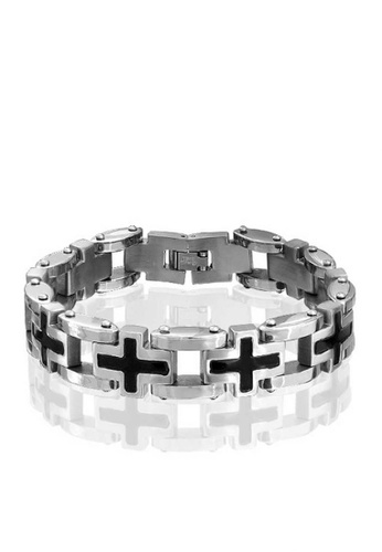 Greatvalueplus black and silver Zumqa Chain-linked Stainless Steel Faith Bracelet, ZF03 GR688AC30KHHPH_1