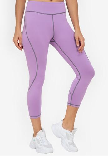 ZALORA ACTIVE purple Contrast Stitch Curve Panel Leggings 06290AA6C643FEGS_1
