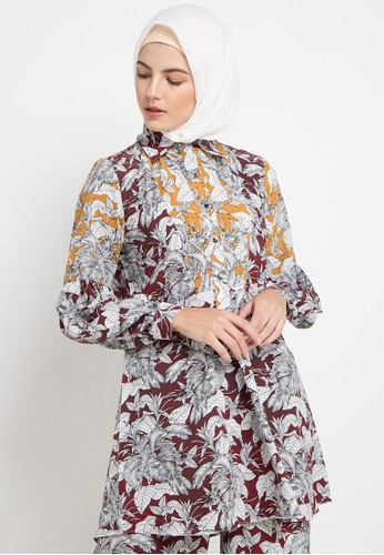 Allea by Itang Yunasz red and multi Utari Blouse 24ED0AAD5E6CFEGS_1