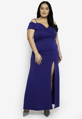 Ashley Collection blue Plus Size Strappy Cold Shoulder Mermaid Hem Maxi Dress D1473AA36643BCGS_1