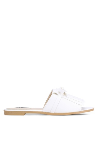 ZALORA white Fringed Sliders F8EEFSH356804CGS_1