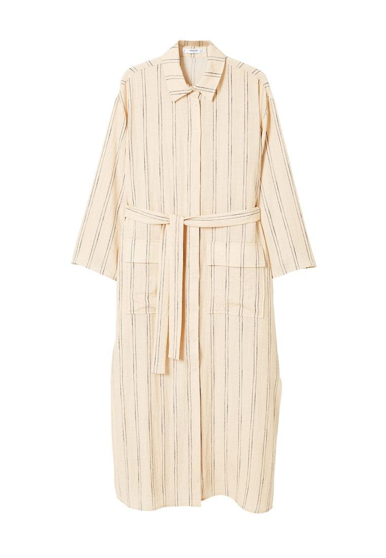 Shirt Light Dress Beige Striped Mango AUOqOw