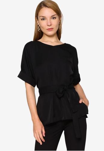 ZALORA WORK 黑色 Oversized上衣 With Self 領帶 B29F2AA3BB6670GS_1